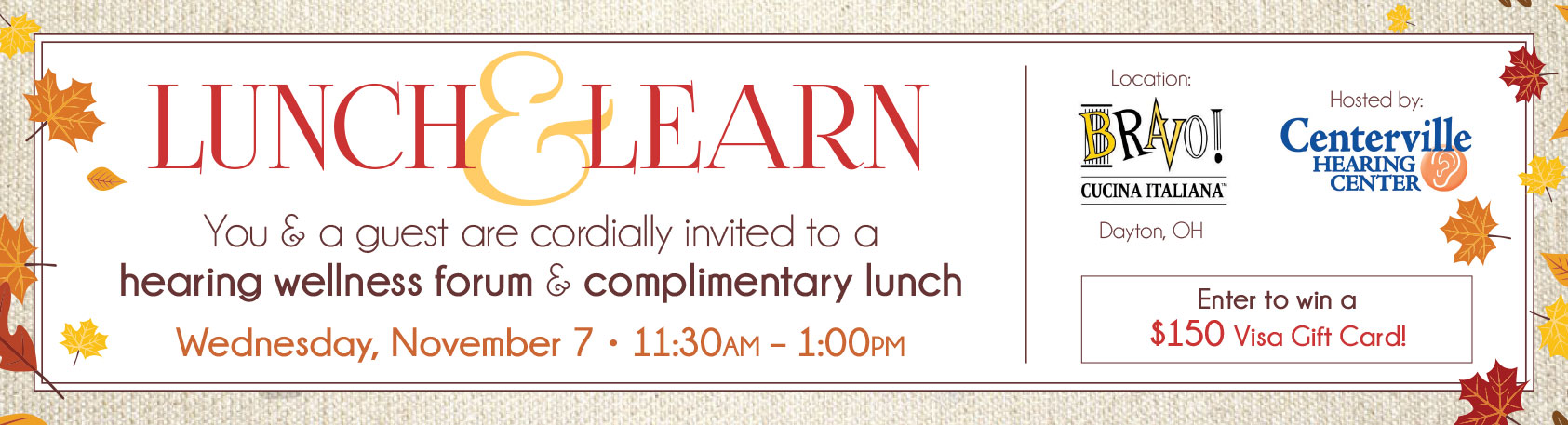 Lunch & Learn Banner - Centerville Hearing Center